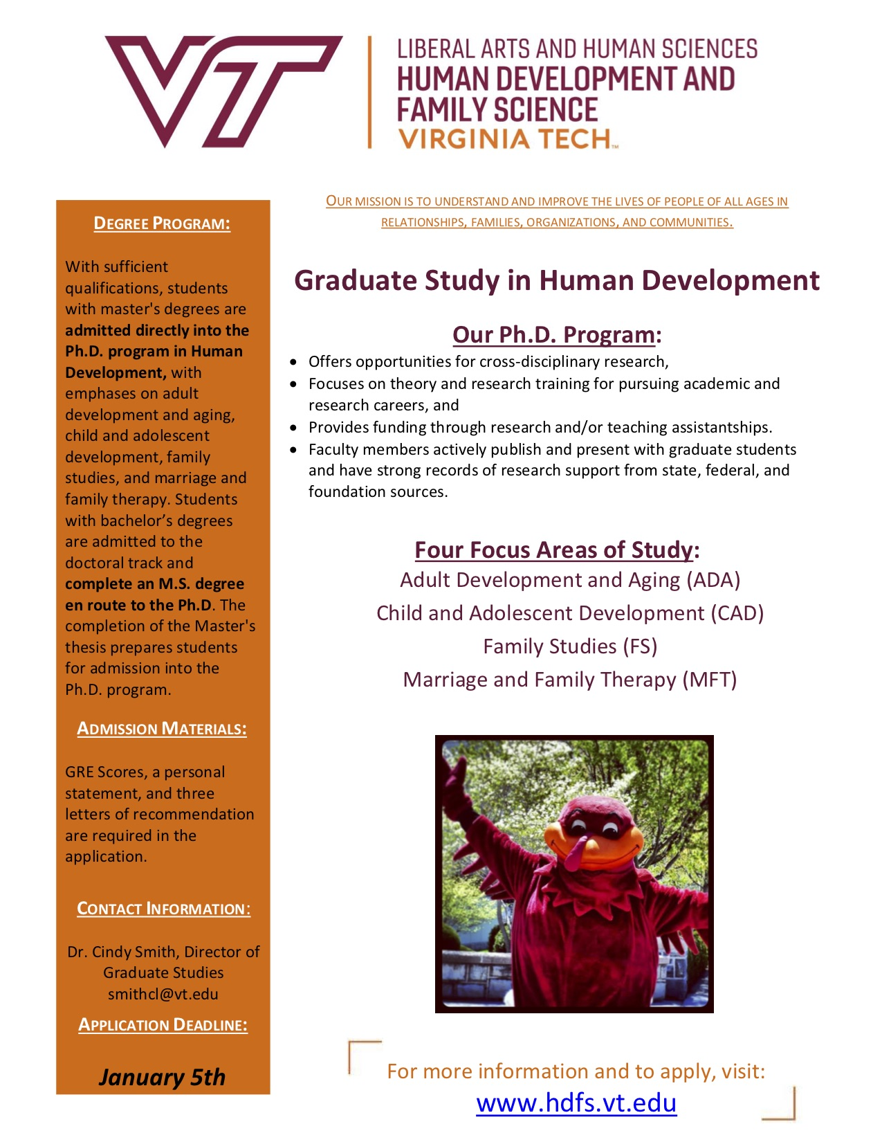Virginia Tech Human Development Family Science Brochure